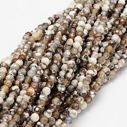 """Chapelets de perles rondes en agate naturelle à facettes, teint, chameau, 4mm, trou: 1mm; environ 92 pcs/chapelet, 15.3""""(G-E318B-4mm-01)"""