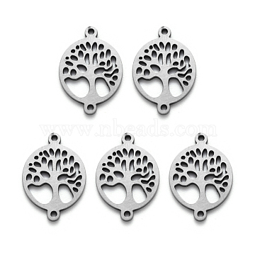 304 Stainless Steel Links Connector, Laser Cut, Flat Round with Tree of Life, Stainless Steel Color, 19.5x13.5x1mm, Hole: 1mm(X-STAS-R107-15)