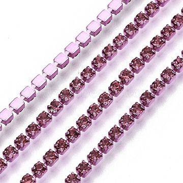 Electrophoresis Brass Rhinestone Strass Chains, Rhinestone Cup Chains, with Spool, Rose, SS6.5, 2~2.1mm; about 10yards/roll(CHC-Q009-SS6.5-B15)