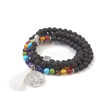 Dual-use Items,Natural Lava Rock Multi-strand Bracelets/Necklaces, with Alloy Findings, Mixed Stone and Resin, Lotus, Chakra, Burlap Packing, Antique Silver, 28.3 inches(72cm); Bag: 12x8.5x3cm(BJEW-JB03853-01)