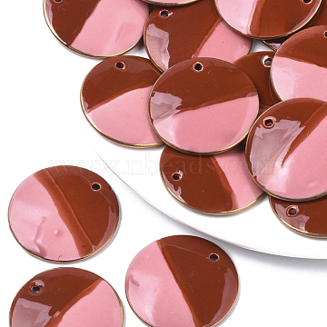 Two Tone Handmade Porcelain Pendants, Ornamental with Gold, Flat Round, Red, 39x4.5mm, Hole: 2.5mm(PORC-S501-002A)
