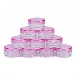 3G Plastic Empty Portable Facial Cream Jar, Refillable Cosmetic Containers, with Screw Lid, DeepPink, 2.9x1.6cm; Capacity: 3g(X-MRMJ-WH0020-01B)
