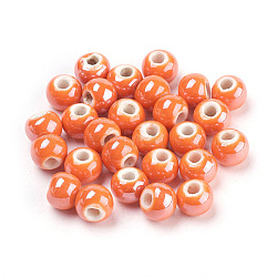 Handmade Porcelain Beads, Pearlized, Round, OrangeRed, 8mm, Hole: 2mm(X-PORC-D001-8mm-18)