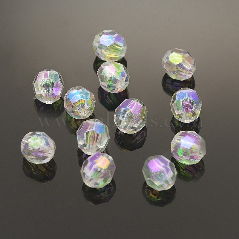 100 Mixed Colour 8mm Transparent Acrylic Faceted Beads