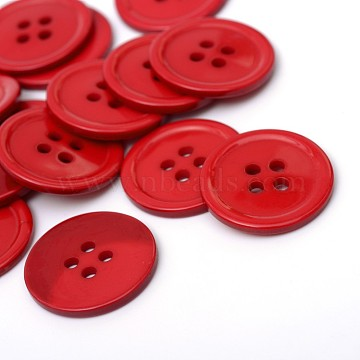 4-Hole Plastic Buttons, Flat Round, FireBrick, 22x2mm, Hole: 2mm(X-BUTT-R034-052C)