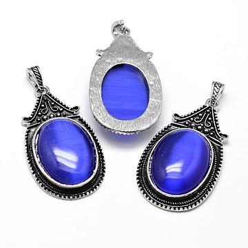Oval Zinc Antique Silver Zinc Alloy Cay Eye Big Pendants, Lead Free & Nickel Free, Blue, 53.5x30x10mm, Hole: 4.5x8.5mm(G-F228-27S-FF)