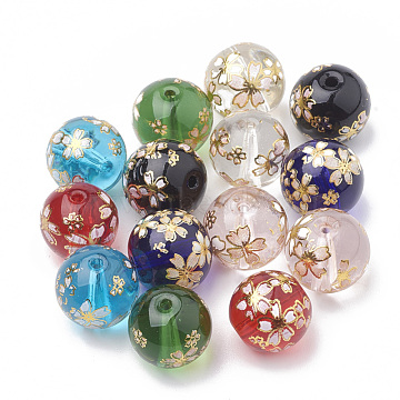 Flower Painted Transparent Glass Beads, Round, Mixed Color, 12mm, Hole: 1~1.5mm(X-GLAA-Q071-01)