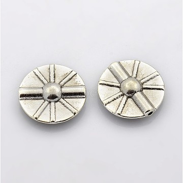 Tibetan Style Alloy Beads, Disc, Lead Free and Nickel Free and Cadmium Free, Antique Silver, 16mm, Hole: 1mm(X-LF5154Y-NF)