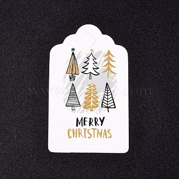 Paper Gift Tags, Hange Tags, For Arts and Crafts, For Christmas, with Word Merry Christmas & Christmas Tree Pattern, White, 50x30x0.3mm, Hole: 5mm(CDIS-L003-E04-A)