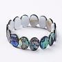 Natural Abalone Shell/Paua Shell Stretch Bracelets, Beaded Bracelets, Oval, 2-1/4 inches(5.6cm)