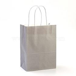 Sacs en papier kraft de couleur pure, sacs-cadeaux, sacs à provisions, avec poignées en corde de nylon, rectangle, grises , 15x11x6 cm(AJEW-G020-A-07)