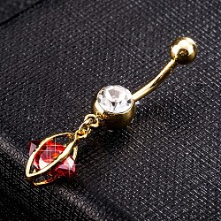 Environmental Brass Cubic Zirconia Navel Ring, Belly Rings, with Use Stainless Steel Findings, Real 18K Gold Plated, Horse Eye, Red, 38x12mm(AJEW-EE0004-01C)