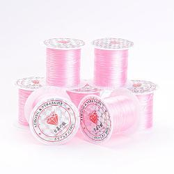 Flat Elastic Crystal String, Elastic Beading Thread, for Stretch Bracelet Making, PearlPink, 1mm, 10m/roll(EW-S002-20)