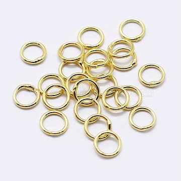 925 Sterling Silver Round Rings, Soldered Jump Rings, Golden, 4x0.8mm; Inner Diameter: 2mm(STER-F036-03G-0.8x4)