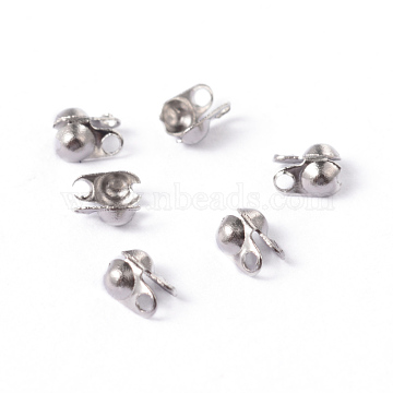 304 Stainless Steel Smooth Surface Bead Tips, Calotte Ends, Clamshell Knot Cover, Stainless Steel Color, 4x2mm, Hole: 1mm, Inner Diameter: 1.5mm(A-STAS-D150-01P)