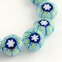 "Handmade Millefiori Glass Beads Strands, Flat Round, LightSkyBlue, 8x3mm, Hole: 1mm; about 50pcs/strand, 14.1"""