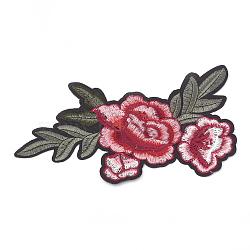 Tissu de broderie informatisé fer/coudre sur les patchs, accessoires de costumes, appliques, fleur, indianred, 190x100x1.5mm(X-AJEW-S069-098)