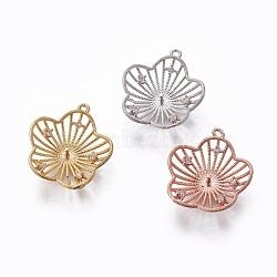 Pendentifs en laiton, avec zircons, pour la moitié de perles percées, fleur, clair, couleur mixte, 22x19.5x5mm, trou: 1.2 mm; broches: 1 mm(KK-L177-06)