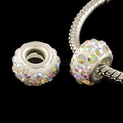polymère strass argile européen grosses perles trous avec des noyaux en laiton ton argent, rondelle, cristal ab, 11~12x7~7.5 mm, trou: 5 mm(X-FPDL-R002-15)
