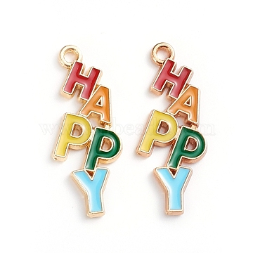 Alloy Enamel Pendants, with Word HAPPY, Light Gold, Colorful, 29x11.2x1.8mm, Hole: 1.6mm(X-ENAM-WH0047-36KCG)