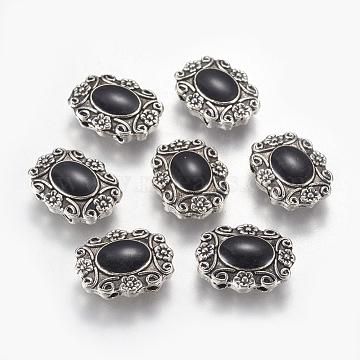 Alloy Enamel Multi-strand Links, Oval with Flower, Antique Silver, Black, 16x13x4mm, Hole: 1.4mm(ENAM-G136-01AS)