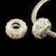 Polymer Clay Rhinestone European Large Hole Beads with Silver Tone Brass Cores(X-FPDL-R002-15)-1