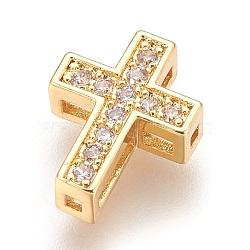 Brass Micro Pave Cubic Zirconia Beads, Cross, Clear, Real 18K Gold Plated, 13x10x4mm, Hole: 1mm(X-ZIRC-F088-027G)
