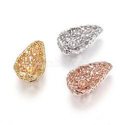 Pendentifs en laiton, pour la moitié de perles percées, goutte , couleur mixte, 19.5x11.5x6.5mm, trou: 3x2 mm; diamètre intérieur: 9.5 mm; goupille: 0.8mm(KK-L177-18)