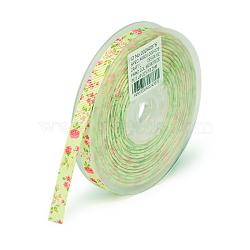 rubans en gros-grain polyester imprimé floral recto, lightgreen, 1-1 / 2 (38 mm); à propos de 100 yards / rouleau (91.44 m / roll)(SRIB-A011-38mm-240876)
