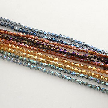 5mm Mixed Color Bicone Electroplate Glass Beads