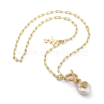 Brass Pendant Necklaces, with Natural Pearl, Cubic Zirconia, and 304 Stainless Steel Lobster Claw Clasps, Flat Round with Heart, Heart Beat, Golden, 16.25 inches(41.3cm)(NJEW-JN03058-02)