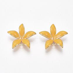 liens en laiton piquets, pour perle à moitié percée, avec l'émail, fleur, véritable plaqué or, or, 23x24x5~6 mm, trou: 1~2 mm; broches: 0.8 mm(KK-S350-387B-G)