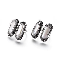 Bagues de manchette réglables en argile polymère avec strass, avec les accessoires de perles et en laiton, rectangle, jet, taille 8~9, 18~19mm(RJEW-K229-D02)