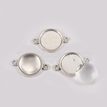 DIY Links Making, with Alloy Cabochon Connector Settings and Clear Glass Cabochons, Flat Round, Antique Silver, Connector Setting: 21x15x2mm, Hole: 2mm, Tray: 12mm, Glass Cabochon: 11.5~12x4mm, 2pcs/set(DIY-X0292-44A-AS)