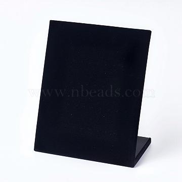 Velvet Earring Displays, L-Shaped Earring Display Stand, Black, 20.2x10x24.5cm(EDIS-WH0001-02)