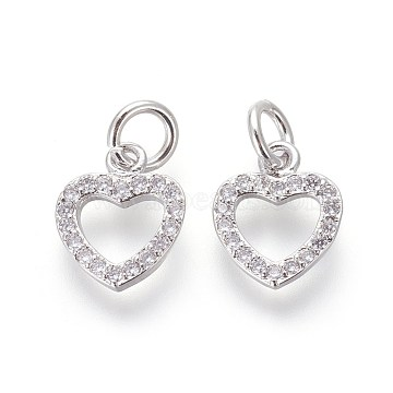 Brass Micro Pave Cubic Zirconia Charms, Lead Free & Cadmium Free, Clear, Heart, Platinum, 10.5x9x2mm, Hole: 3mm(X-ZIRC-J021-03P-RS)