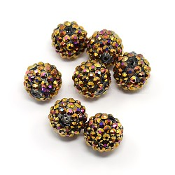 Resin Rhinestone Beads, DIY Spacer Beads for Basketball Wives Earrings, Round, Gold, Size: about 16mm in diameter, hole: 2mm(RESI-A003-14)