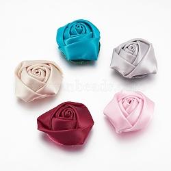 Cabochons tissés en tissu de polyester manuel, rose, couleur mixte, 29x29x14mm(WOVE-QS28-M)