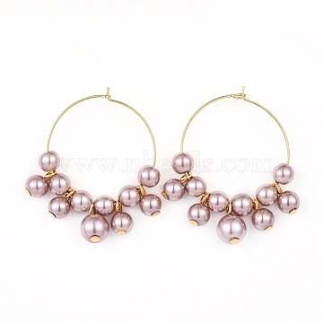 Wine Glass Charms, with Glass Pearl Beads and Brass Hoop Earrings, Golden, Rosy Brown, 42.5~43x36~37.5x8mm, Pin: 0.6mm(EJEW-JE03184-04)