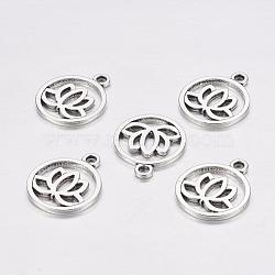 Pendentifs en alliage en filigrane de style tibétain, plat rond de lotus, sans plomb, argent antique, 24x20x1.5mm, Trou: 2.3mm(X-TIBEP-5354-AS-LF)