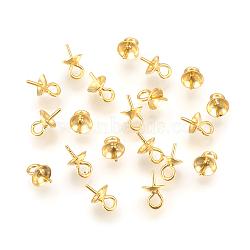 925 pendentifs tasse bélière clou en argent pur, pour la moitié de perles percées, or, plateau: 5.5 mm; 8.5x6 mm, Trou: 1.5mm, pin: 0.8 mm(STER-P045-01G-6mm)