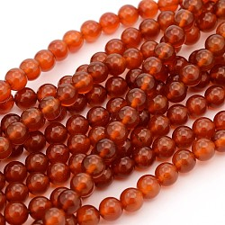 Gemstone Beads Strands, Natural Carnelian, Dyed, Round, 8mm, Hole: 1mm; about 49pcs/strand, 15~16inches