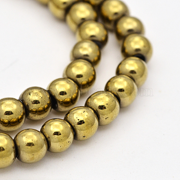 Electroplate Natural Pyrite Beads Strands, Round, Dark Khaki, 6mm, Hole: 1mm; about 66pcs/strand, 15.7 inches(G-P061-63)