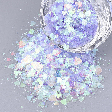 Ornament Accessories, PVC Plastic Paillette/Sequins Beads, No Hole/Undrilled Beads, Mixed Shapes, Lilac, 1~5x1~5x0.1mm(X-PVC-S035-013B)