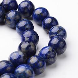 """Lapis rondes naturelles brins de perles lazuli, 10mm, trou: 1mm; environ 38~39 pcs/chapelet, 15""""(G-J346-26-10mm)"""