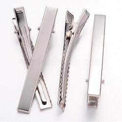 Accessoires de la pince à cheveux d'alligator plat platine ton de fer pour des accessoires de cheveux de DIY faisant, 77x9mm(X-IFIN-S286-77mm)