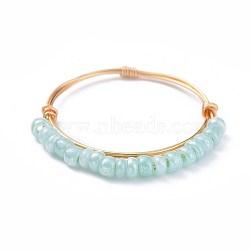стеклянные кольца из бисера, с медной проволокой, золотой, аквамарин, 19 мм; 1~1.5 мм(RJEW-JR00269-04)