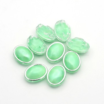 Sew on Taiwan Acrylic, Multi-strand Links, Garment Accessories, Oval, Light Green, 11x9x6mm, Hole: 1mm(X-SA54-6x8-ACS-P10)