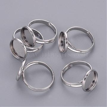 Adjustable Platinum Brass Finger Ring Findings Pad Ring Bases, Nickel Free, 17mm; Tray: 12mm inner diameter(X-J2673062-P-NF)