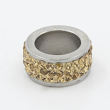 304 Stainless Steel Column Beads, with Polymer Clay Rhinestone, Stainless Steel Metal Color, Jonquil, 13x6mm, Hole: 8mm(RB-I065-04)
